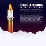 Modern vector galaxy space rocket Spaceship launch. Flying  Stock Photo