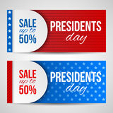 Modern vector horizontal banners, page headers with text for Presidents Day. Banners with stripes and stars. Sale, discount theme. Stock Image