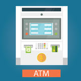 Modern vector illustration of ATM machines Royalty Free Stock Images