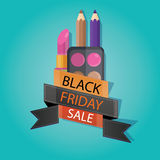 Modern vector illustration of black friday sale, cosmetic store, Royalty Free Stock Images
