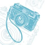 Modern vector illustration with blue silhouette of photo camera, on white background with grunge texture. stock illustration