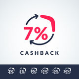 Modern vector illustration of cash back with the boomerang and the percent sign. Poster in minimalistic flat style Stock Photography