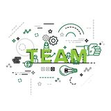 Modern vector illustration concept of word team. Infographics business team, business teamworking, meeting, agreement or vector illustration