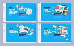 Set of website template designs. Modern vector illustration concepts of web page design for website and mobile website development. Easy to edit and customize Stock Image