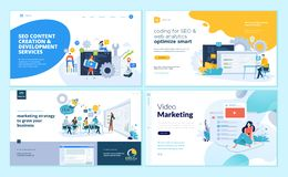 Set of web page design templates for web and mobile apps, SEO, marketing strategy, video marketing Stock Illustration