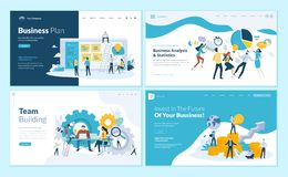 Set of web page design templates for business plan, analysis and statistics, team building, consulting Royalty Free Illustration