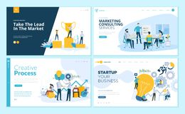 Set of web page design templates for creative process, business success and teamwork, marketing consulting Vector Illustration