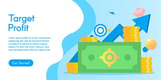 Concept of target profit, vector illustration in flat design. stock image