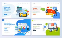 Set of web page design templates for distance education, video tutorials, e-learning, online test skills Royalty Free Stock Photos