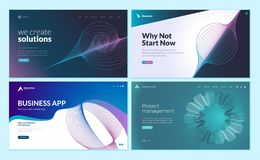 Set of web page design templates with abstract background for business app, project management, creative solutions stock illustration