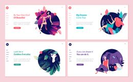 Set of web page design templates for beauty, spa, wellness, natural products, cosmetics, body care, healthy life Stock Photography