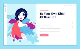 Web page design template for beauty, spa, wellness, natural products, cosmetics, body care, healthy lif Royalty Free Stock Image