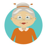 Modern vector illustration of old woman with glasses. Icon of person. Image is out of circle range. Flat icon of granny Stock Photos
