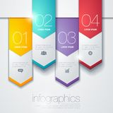 Modern vector infographic diagram with paper arrow. Infographic for charts and presentations with different icons Stock Photo
