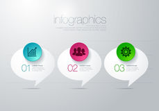 Modern vector infographic diagram with speech bubble. Infographic for charts and presentations with different icons Royalty Free Stock Photos
