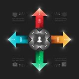 Business Infographics Design Template. Vector Elements. Management Workflow Arrows Illustration. EPS10 Stock Images