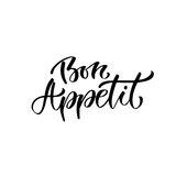 Modern vector lettering. Hand lettered quote for wall poster. France phrase Bon appetit in english enjoy your meal Stock Image