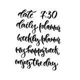 Modern vector lettering set. Calligraphy phrase for planners Stock Photo