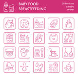 Modern vector line icon of breast feeding, baby infant food. Nursery elements - breast pump, woman, child, powdered milk, bottle s Stock Image