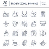 Modern vector line icon of breast feeding, baby infant food. Nursery elements - breast pump, woman, child, powdered milk, bottle s Stock Photography