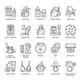 Modern vector line icon of breastfeeding, baby infant food. Breast feeding elements - pump, woman, child, powdered milk, bottle st. Erilizer, baby. Infant food royalty free illustration