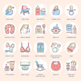 Modern vector line icon of breastfeeding, baby infant food. Breastfeeding elements - breast pump, woman, child, powdered milk, bottle sterilizer, baby stock illustration