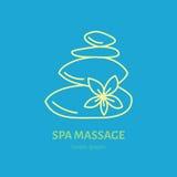 Modern vector line icon of hot stone thai massage. Spa salon service linear logo Stock Photography