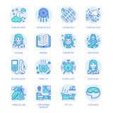 Modern vector line icon of insomnia problem and healthy sleep. Clock, pillow, pills, dream catcher, counting sheep Stock Photos