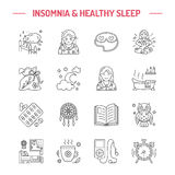 Modern vector line icon of insomnia problem and healthy sleep Stock Photos