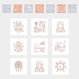 Modern vector line icon of insomnia problem and healthy sleep. Elements - clock, pillow, pills, dream catcher, counting sheep. Linear pictogram with editable Stock Photo