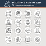 Modern vector line icon of insomnia problem and healthy sleep. Elements - clock, pillow, pills, dream catcher, counting Stock Images