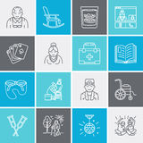 Modern vector line icon of senior and elderly care. Nursing home element - old people, wheelchair, leisure, hospital Royalty Free Stock Image