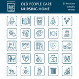 Modern vector line icon of senior and elderly care. Nursing home elements - old people, wheelchair, activities, dentures, medicine. S. Linear pictogram with Royalty Free Stock Photo