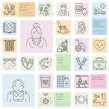 Modern vector line icon of senior and elderly care. Nursing home elements - old people, wheelchair, leisure, hospital call button, Royalty Free Stock Photos