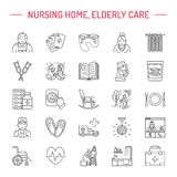 Modern vector line icon of senior and elderly care. Royalty Free Stock Photos