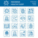Modern vector line icon of sleepless and healthy sleep. Elements - clock, pillow, pills, dream catcher, counting sheep. Royalty Free Stock Photos