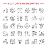 Modern vector line icon of waste sorting, recycling. Garbage collection. Recyclable waste - paper, glass, plastic, metal. Linear p Royalty Free Stock Image