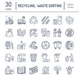 Modern vector line icon of waste sorting, recycling. Garbage collection. Recyclable waste - paper, glass, plastic, metal. Linear p Royalty Free Stock Photos