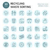 Modern vector line icon of waste sorting, recycling. Garbage collection. Recyclable waste - paper, glass, plastic, metal Stock Photo