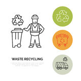 Modern vector line icon of waste sorting, recycling. Garbage collection. Waste sorter, recycler, janitor. Linear pictogram with ed Royalty Free Stock Photo
