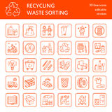 Modern vector line icon of waste sorting, recycling. Garbage collection. Waste types - paper, glass, plastic, metal. Linear pictog Stock Photos