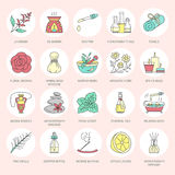 Modern vector line icons of aromatherapy and essential oils. Elements - aromatherapy diffuser, oil burner, spa candles. Incense sticks. Linear pictogram for stock illustration