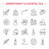 Modern vector line icons of aromatherapy and essential oils. Royalty Free Stock Photos