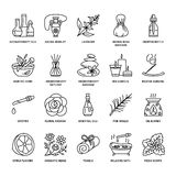 Modern vector line icons of aromatherapy and essential oils. Elements - aromatherapy diffuser, oil burner, spa candles, incense sticks. Linear pictogram with Stock Images
