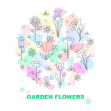 Modern vector line icons with different kind of garden flowers. Stock Image