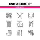 Modern vector line icons set of knitting and crochet elements - yarn, knitting needle, knitting hook, pin and others. Stock Image