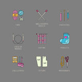 Modern vector line icons set of knitting and crochet. Knitting elements: yarn, knitting needle, knitting hook, pin and others. Stock Images