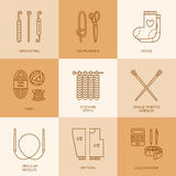 Modern vector line icons set of knitting and crochet. Royalty Free Stock Photos