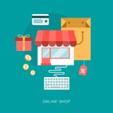 Modern vector on line shop concept illustration Royalty Free Stock Images