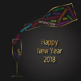 Modern Vector New Year 2018 Typography Champagne Bottle and Glass Stock Photography